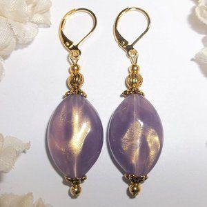 Fashion Jewelry Earrings Purple & Gold Dangle Jewelry Gift Idea For Her 6399